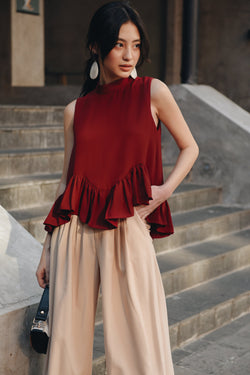 Burgundy Frilled Waving Top