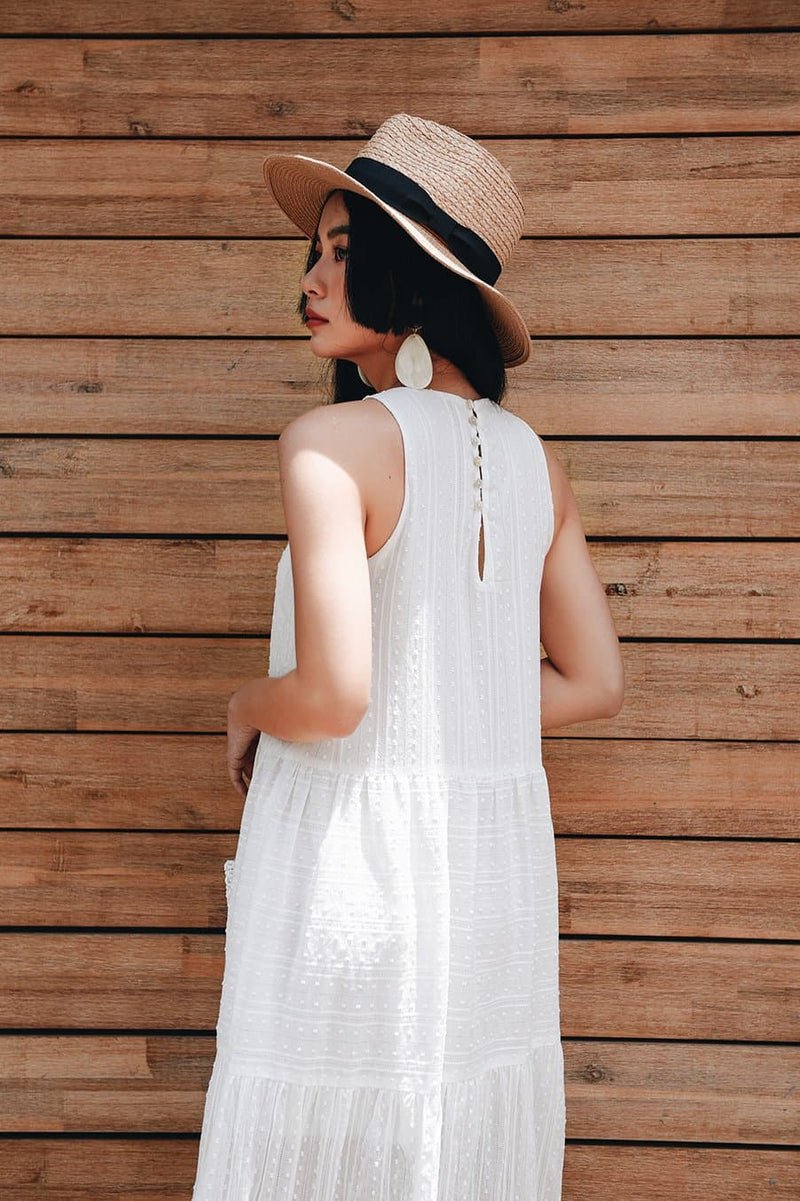 White Stripe Frilled Maxi Dress