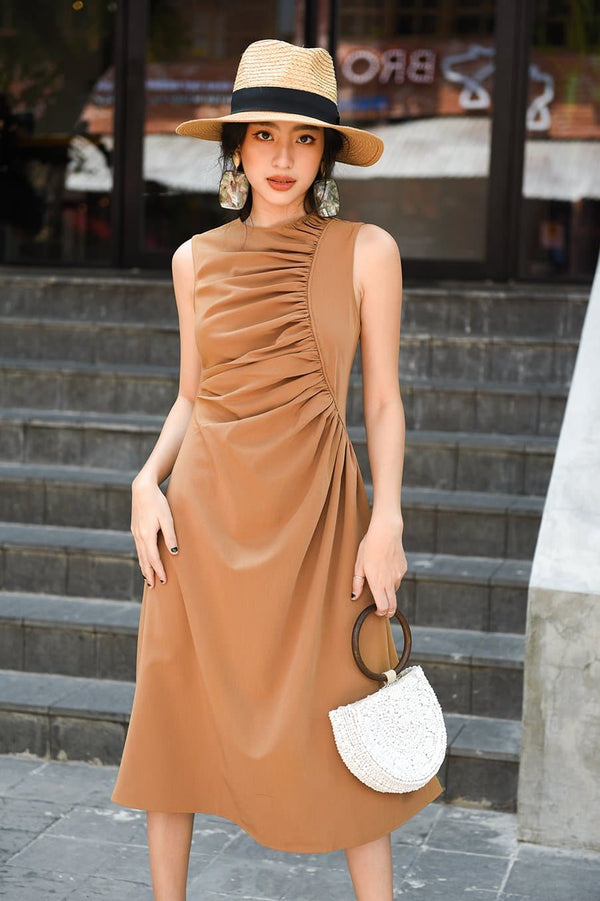 Brown Frilled Dress