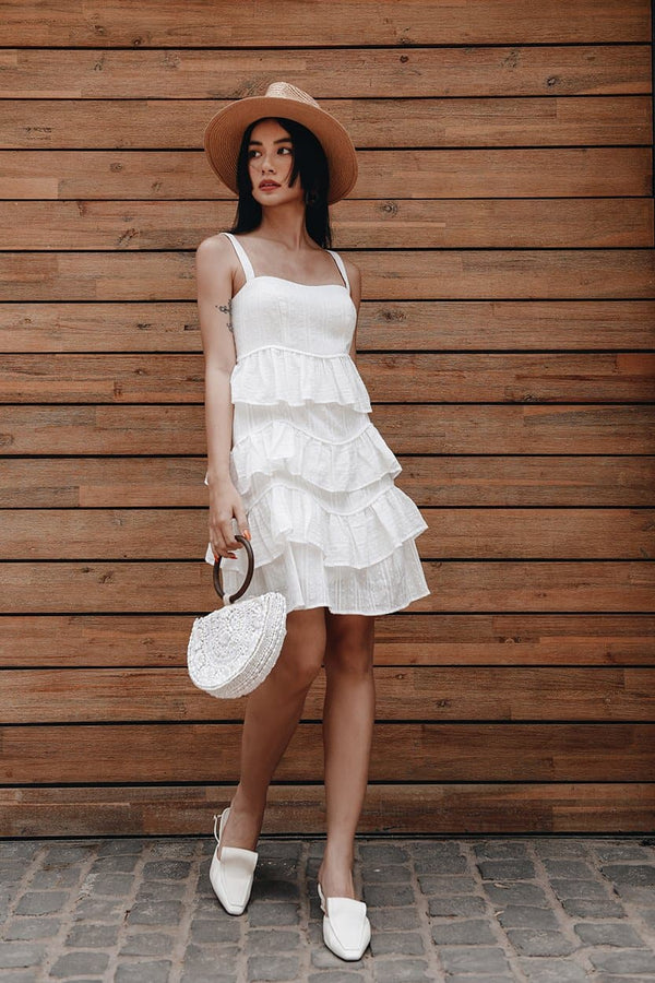 White Embroidered Frilled Layered Dress