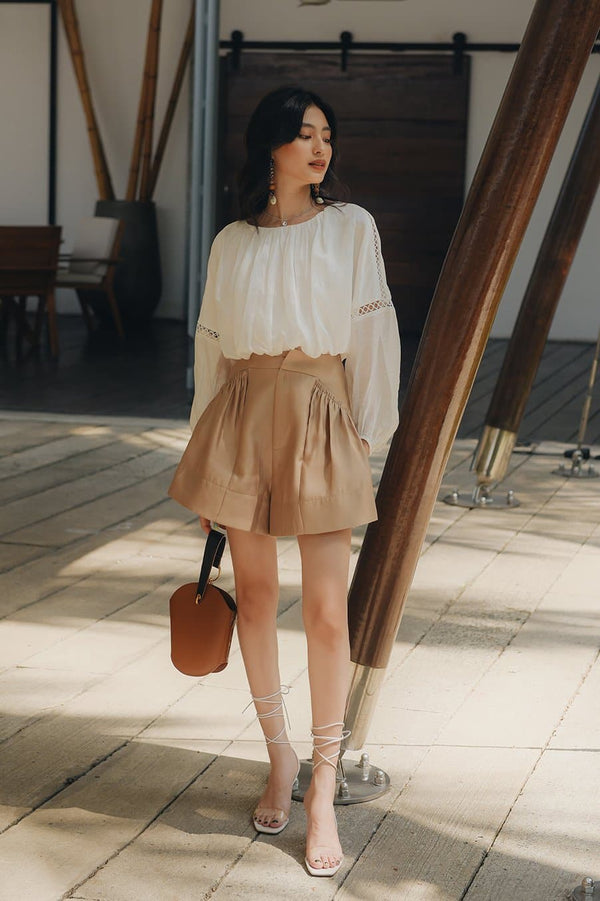 Beige Frilled Pocket Shorts