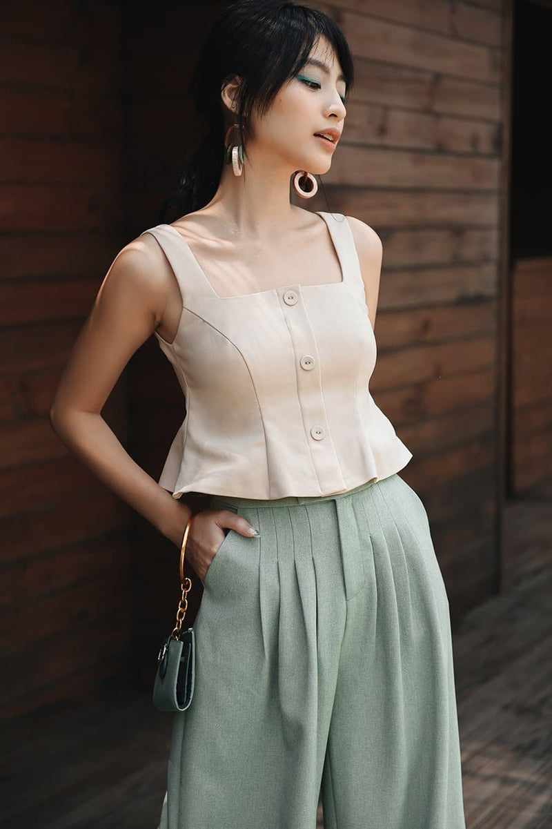 Beige Button-down Ruffle Cami Top