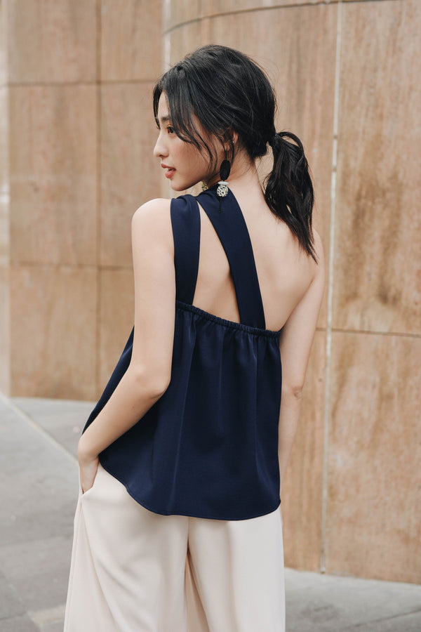 Navy One-Shoulder Twisted Top