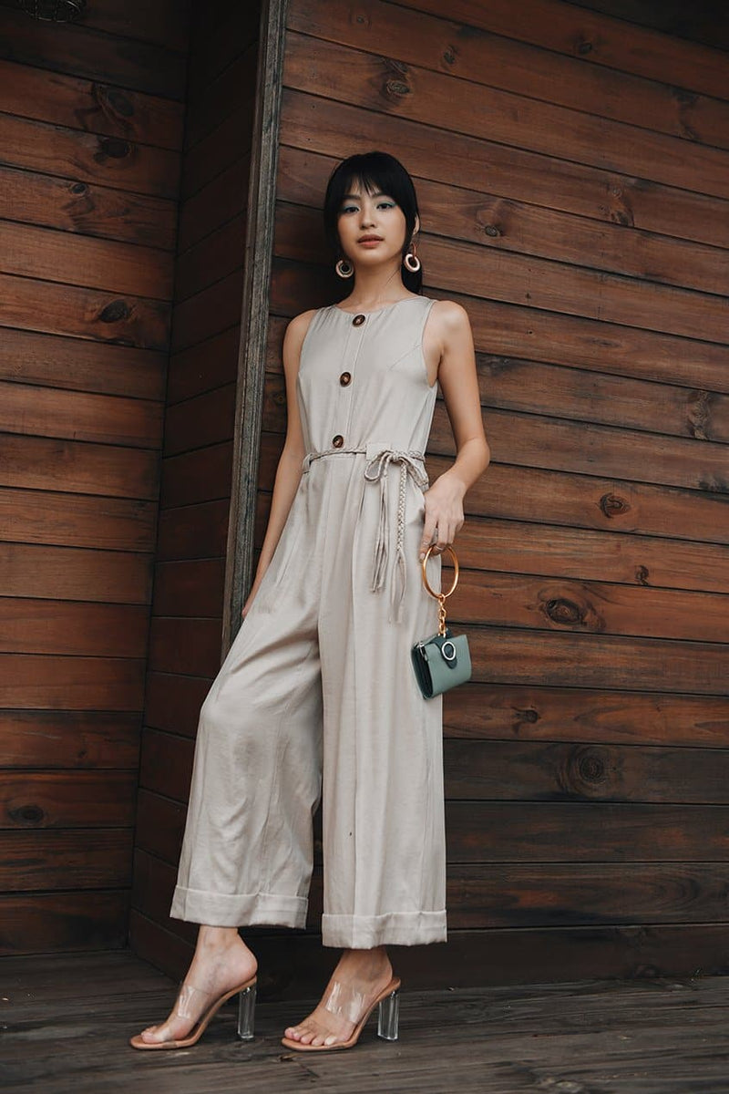 Latte Button-down Jumpsuit with Decorated String Belt