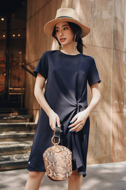 Navy Short Sleeve Twisted Dress
