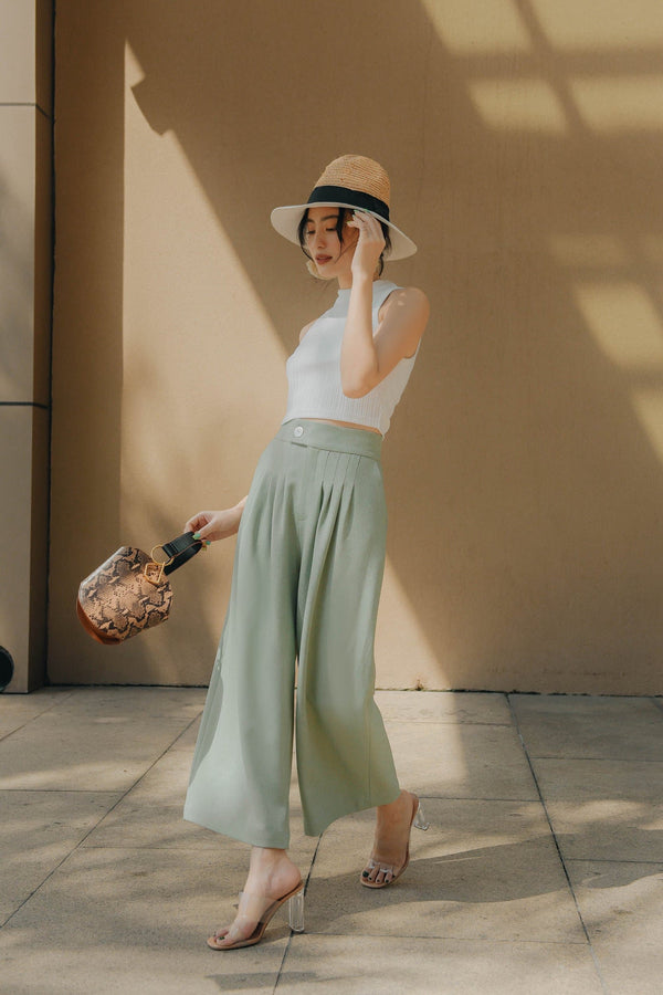 Mint Pleated Trousers