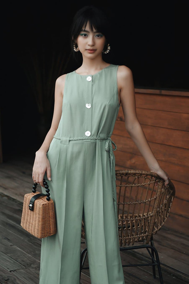 Mint Button-down Jumpsuit with Decorated String Belt