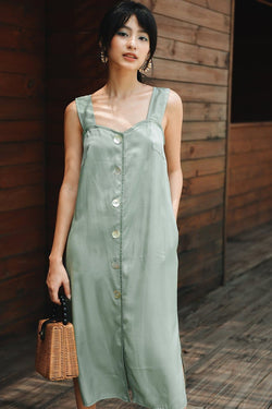 Mint Button-down Cami Dress