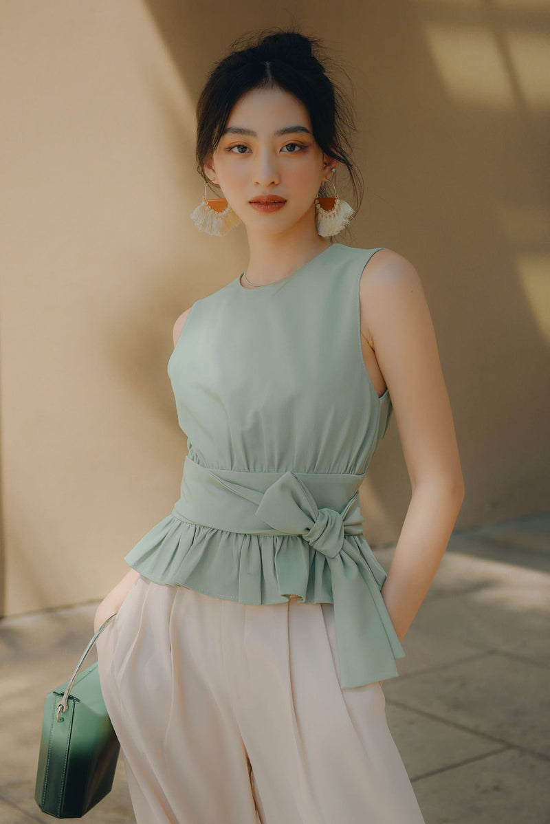 Mint Belted Frilled Top