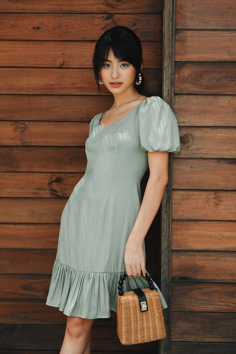 Mint Puff Sleeved Frilled Dress