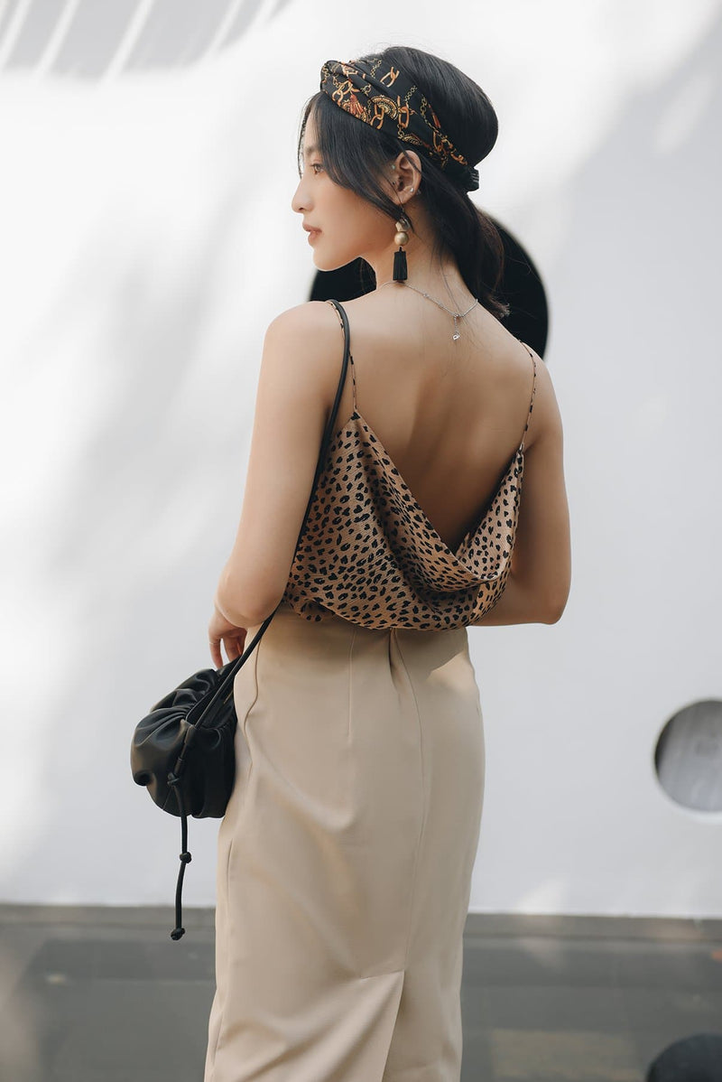 Animal Print Cowl Neck Back Cami Top