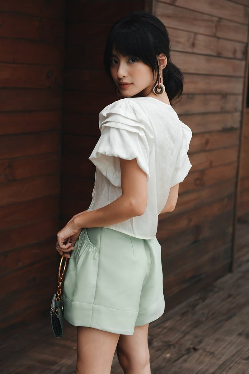 Mint Frilled Pocket Shorts