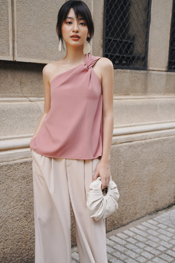 Pink Twisted One-Shoulder Top