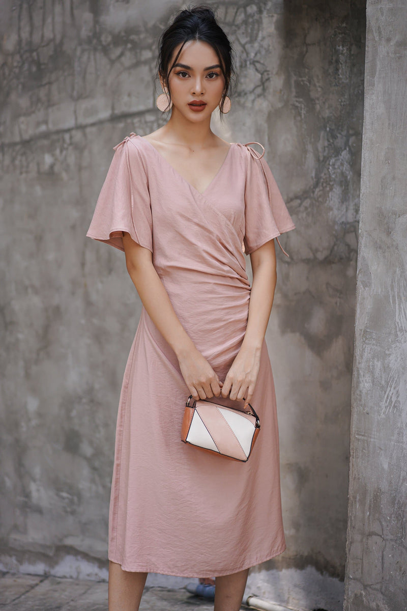 Light Pink Frilled Dress With Ruffle Sleeves