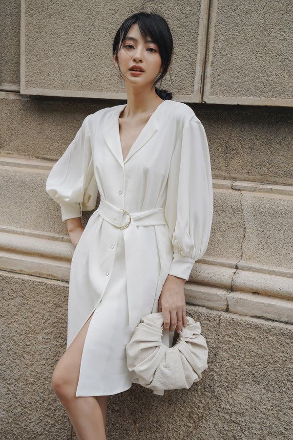 White Puff Sleeved Belted Dress