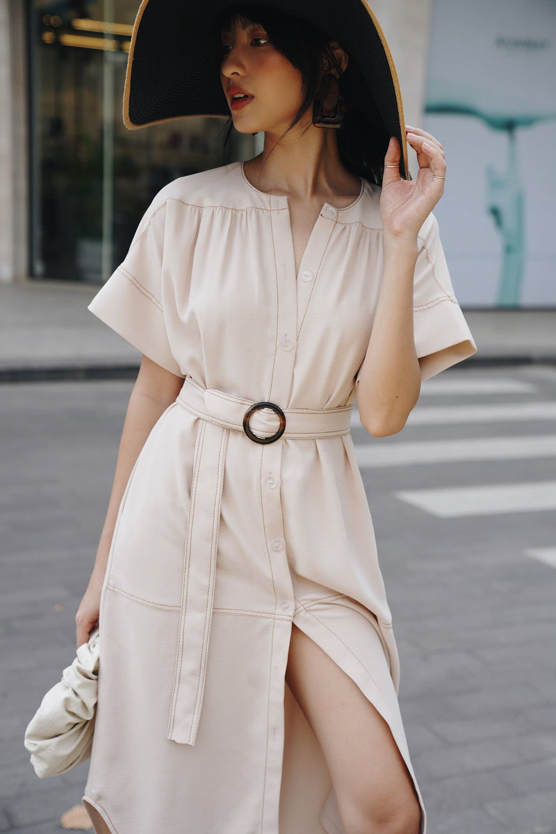 Cream Belted Side-Slit Dress