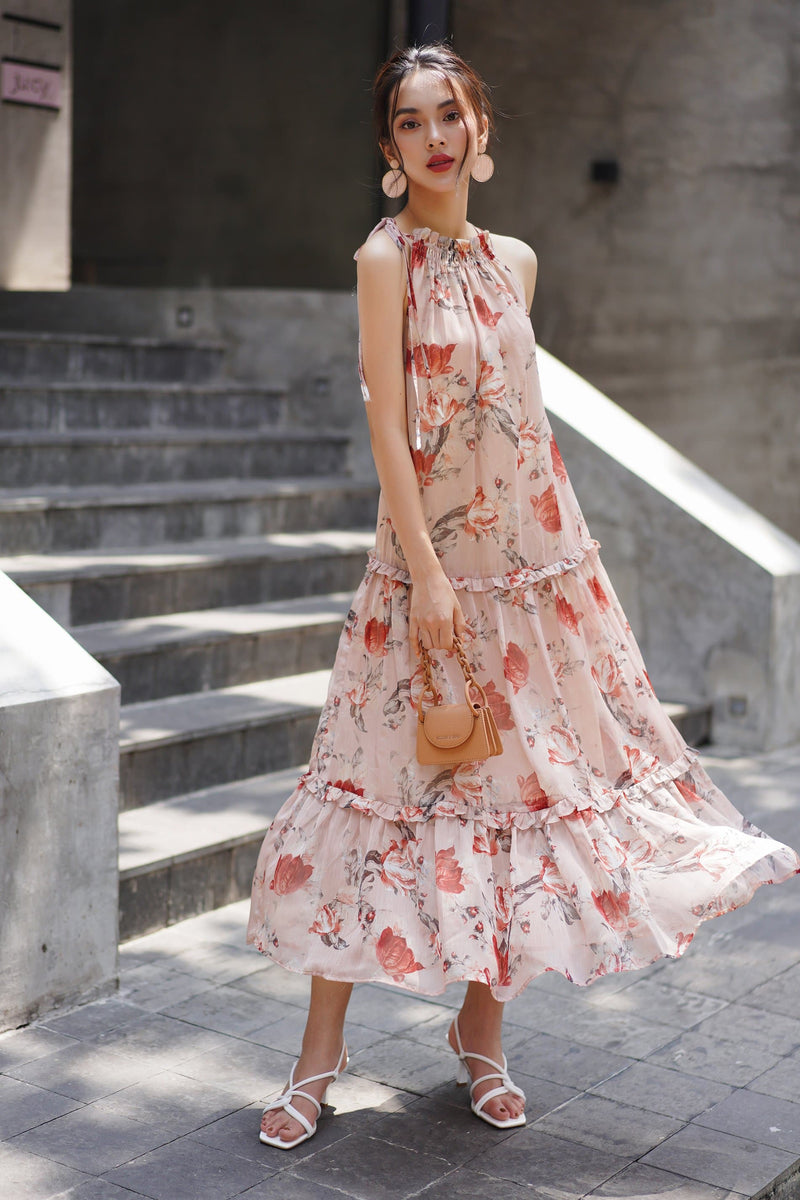 Rose Frilled Maxi