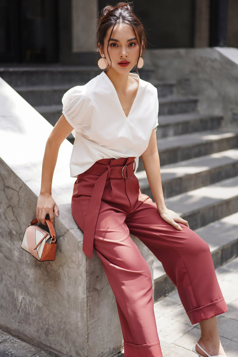 Coral Red Belted Culottes