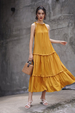 Mustard Yellow Frilled Maxi