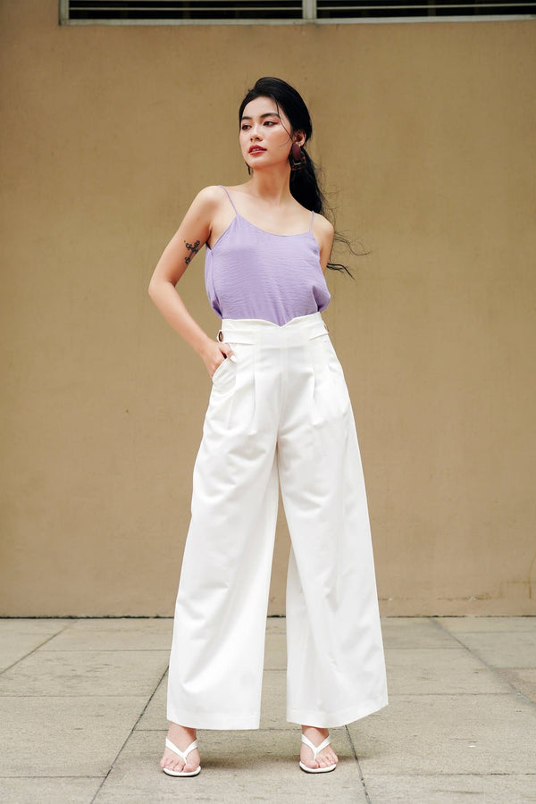 White Long Pleated Trousers