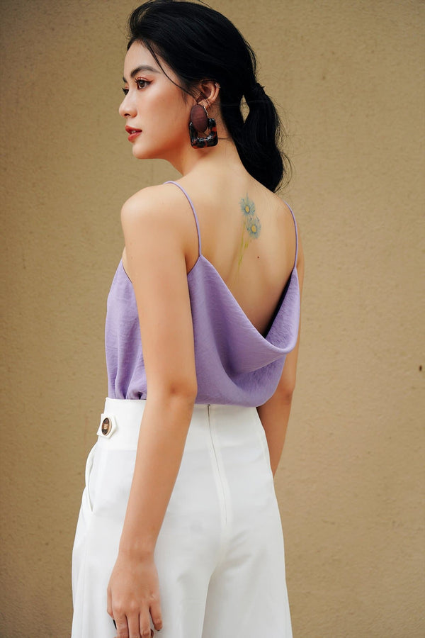 Lilac Cowl-Neck Top