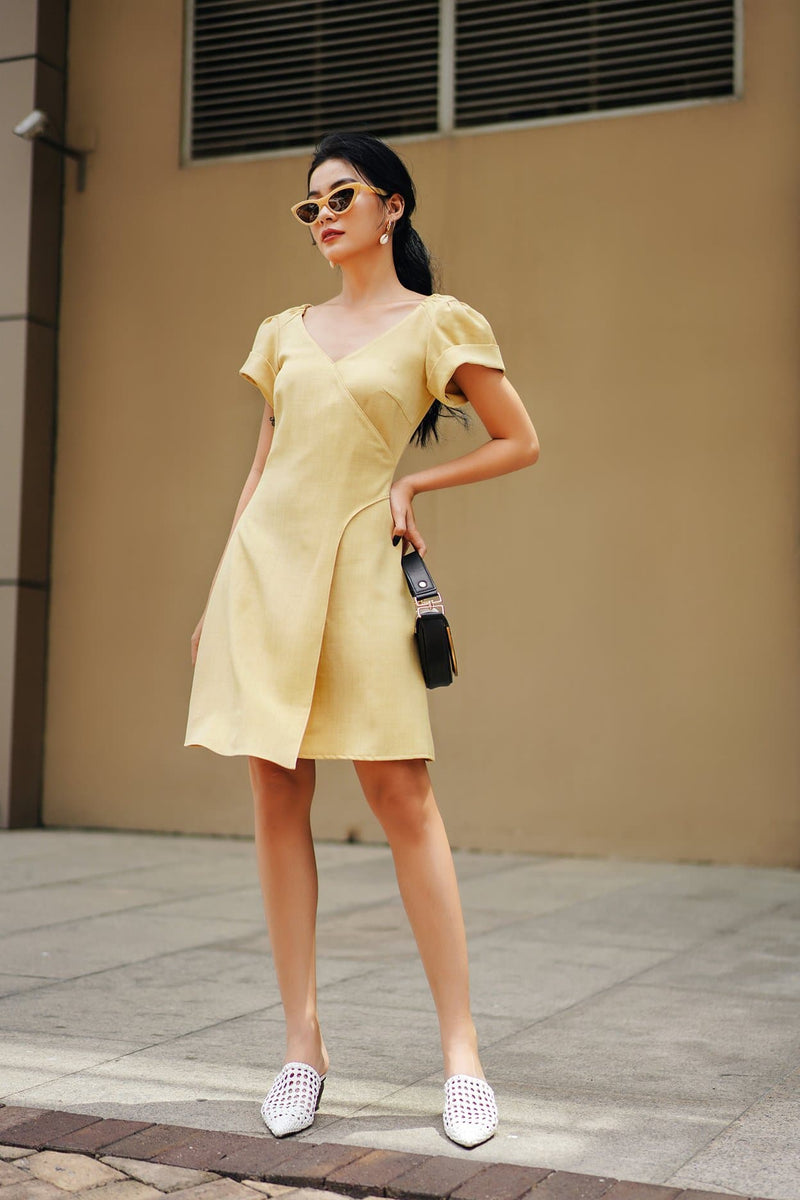 Light Yellow Wrap Dress