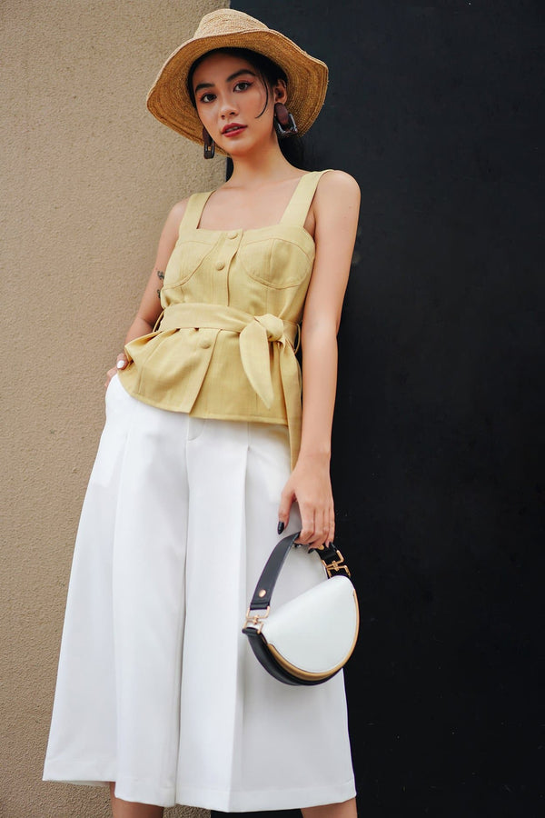 Light Yellow Belted Cami Top