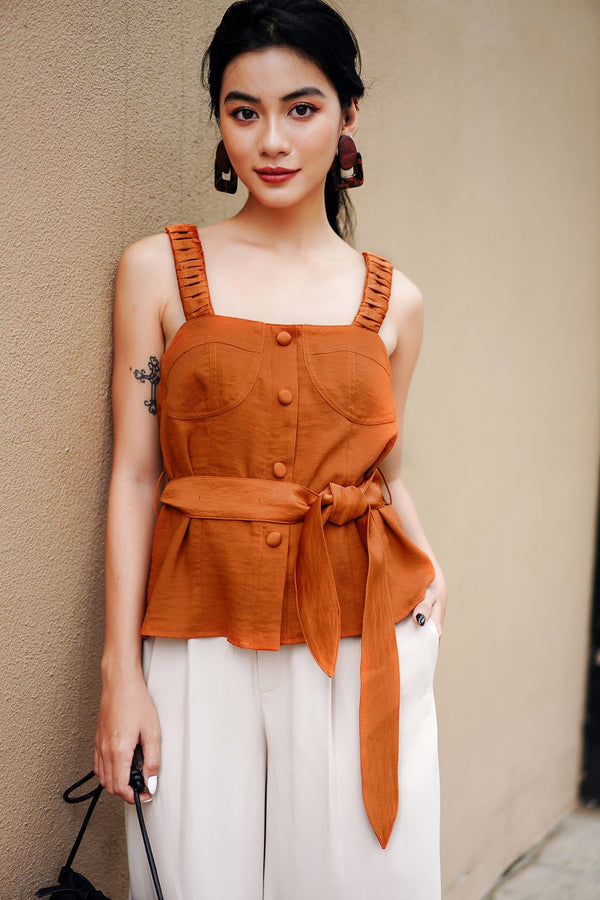 Clay Belted Cami Top