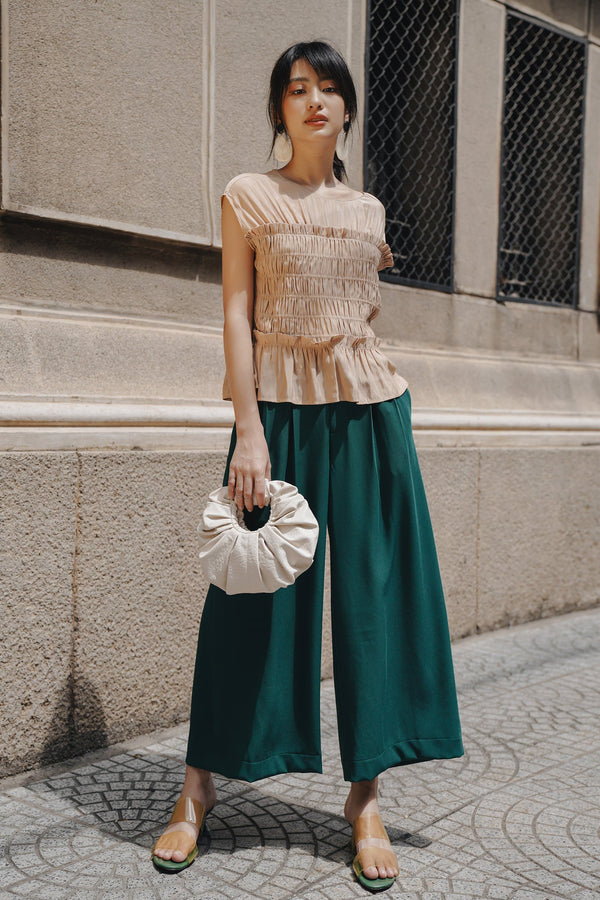 Green Pleated Trousers