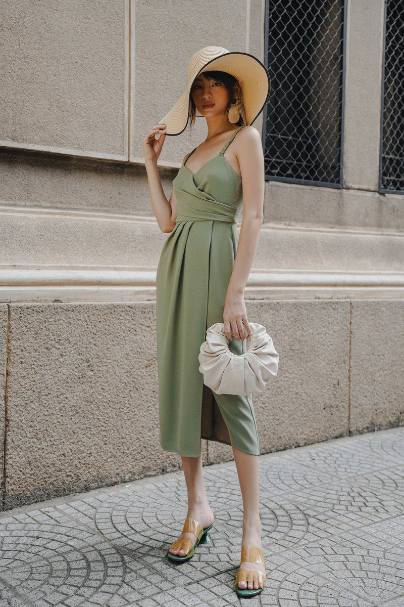 Olive Wrap Pleated Cami Dress