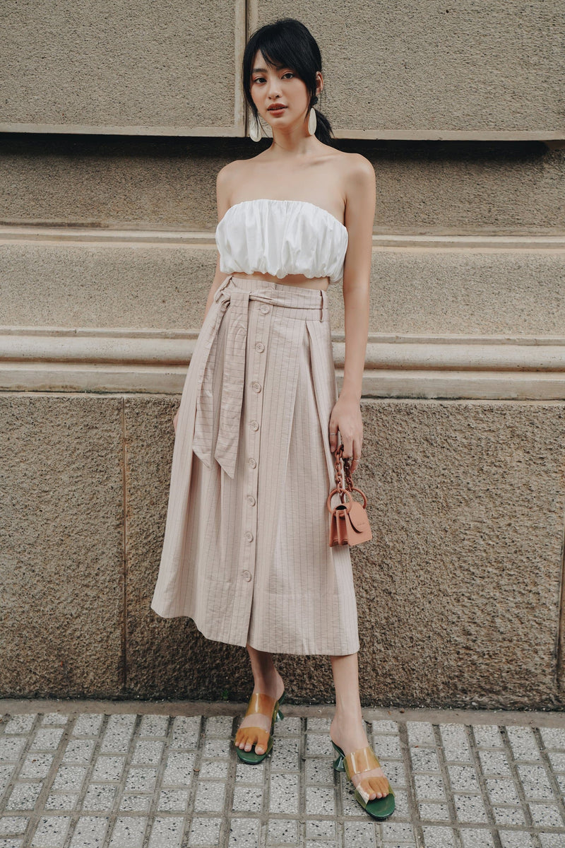 Beige Striped Button-down Skirt