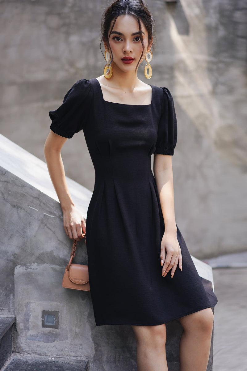 Black String Back Square Neck Dress