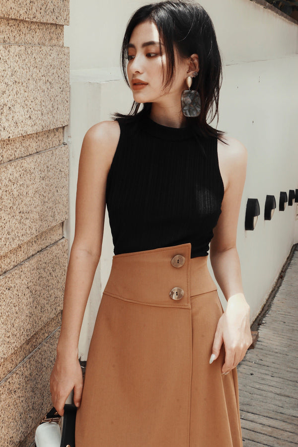 Brown Button High-Low Skirt