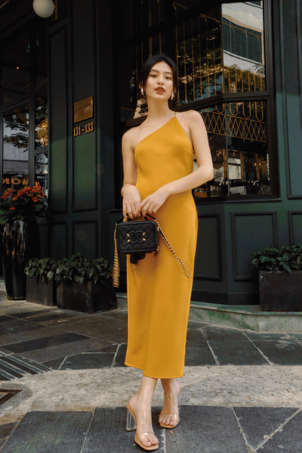 Yellow Cowl Neck Back Dress