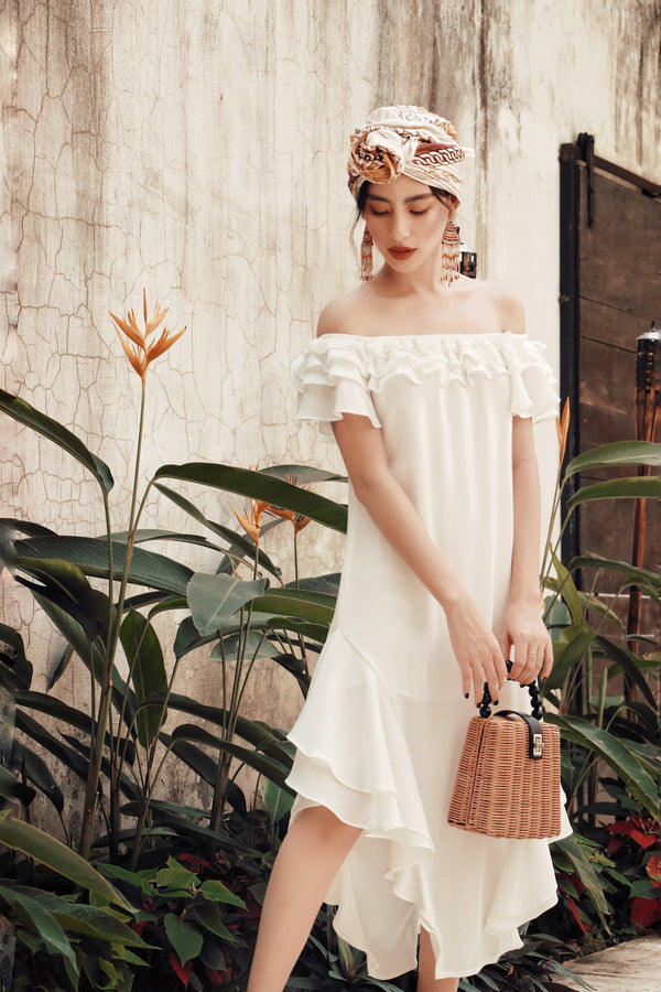 White Off-Shoulder Ruffle Maxi Dress