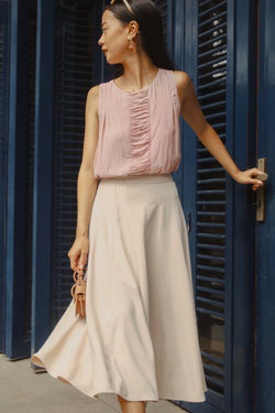 Pink Frill Combined Sleeveless Top