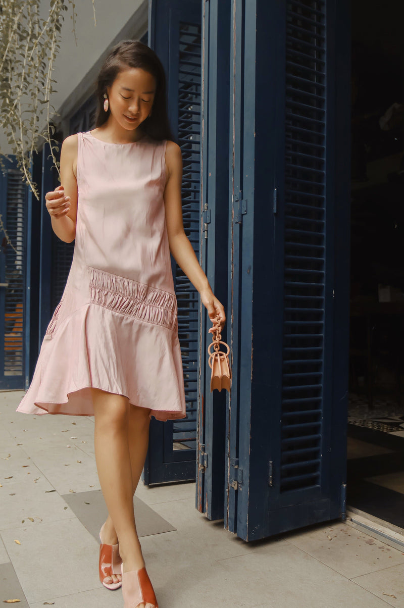 Pink Frill Combined Dress