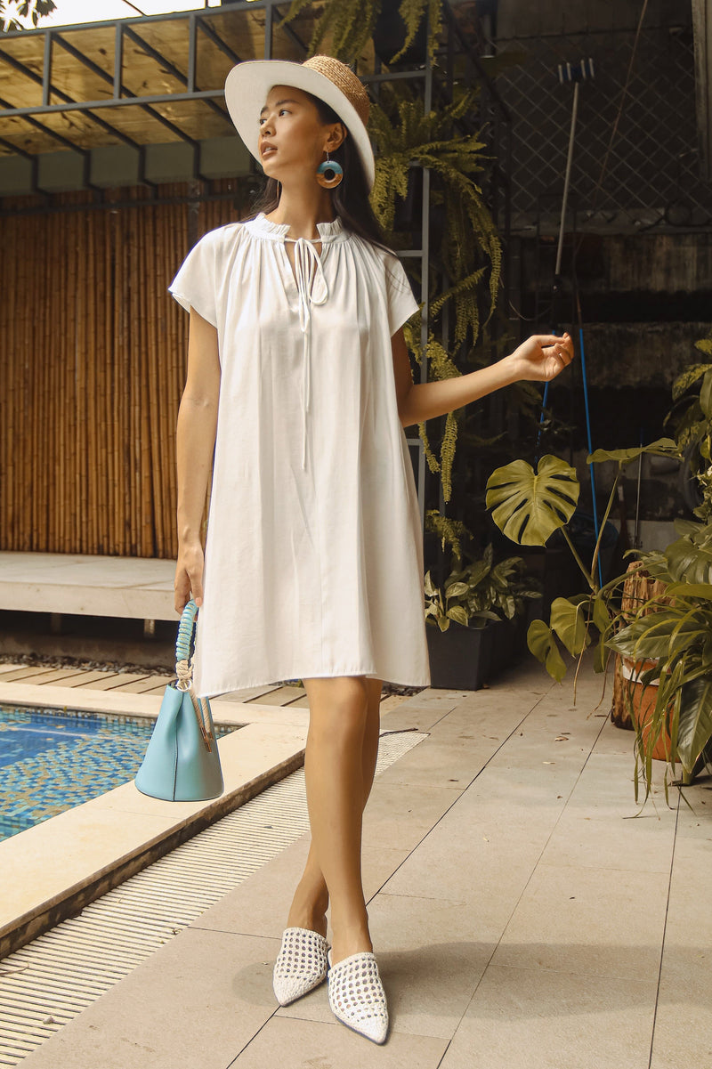 White Frilled Collar Dress