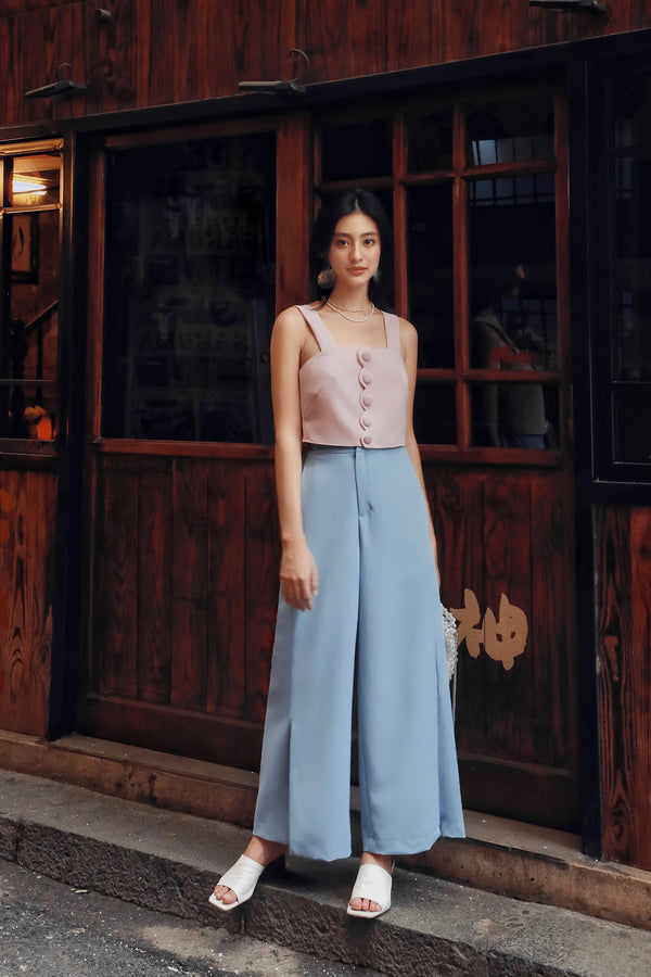 Blue Side-Slit Trousers