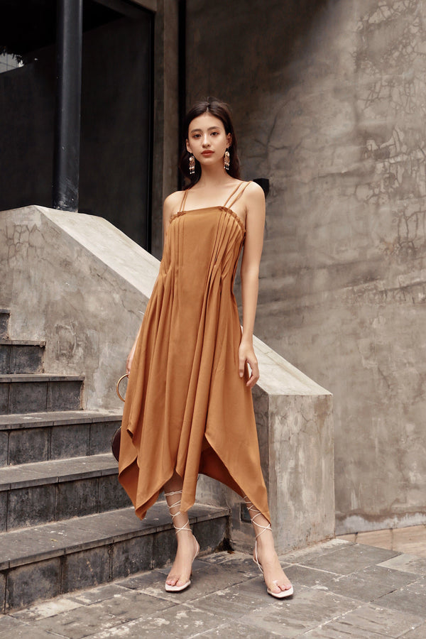 Brown Pleated Cami Dress