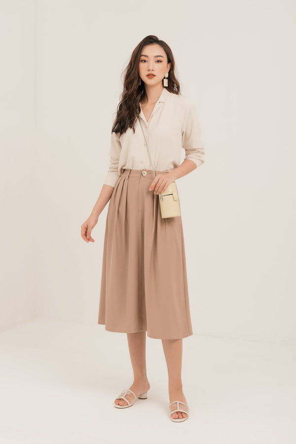 Beige Pleated Midi SKirt