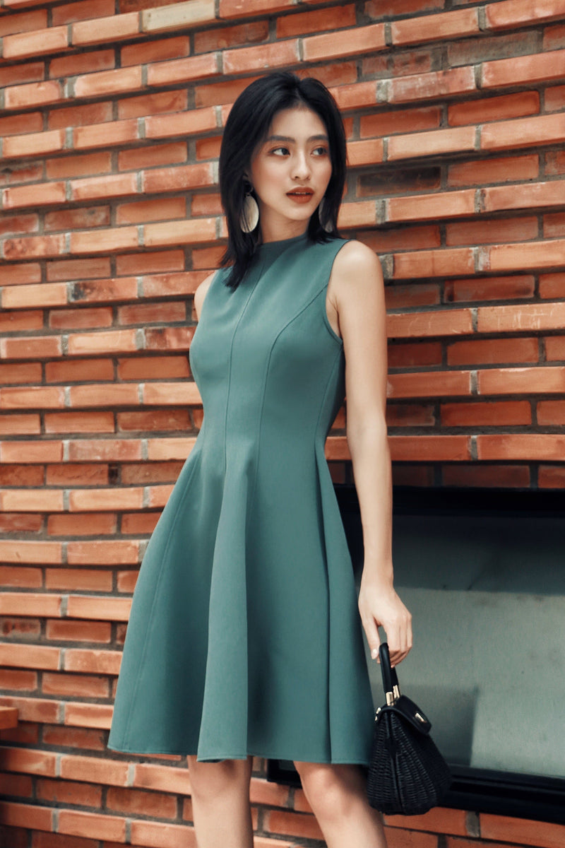 Green Sleeveless Ruffle Dress