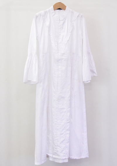 White Cotton Dress with Scarf