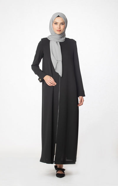 Zipped Abaya- Black