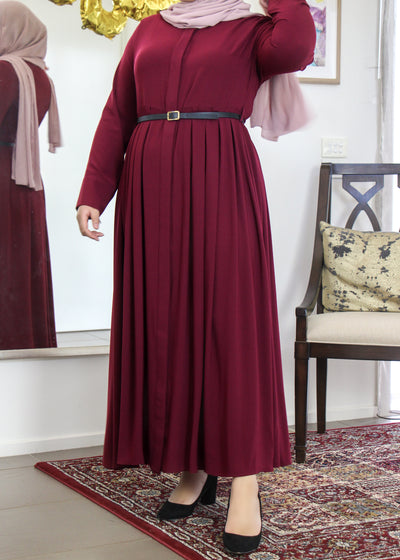 Pleated Buttoned Dress - Plum
