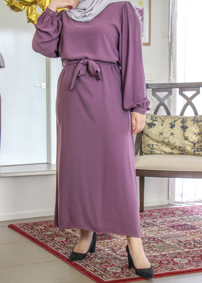 Billow Sleeved Dress - Vintage Violet