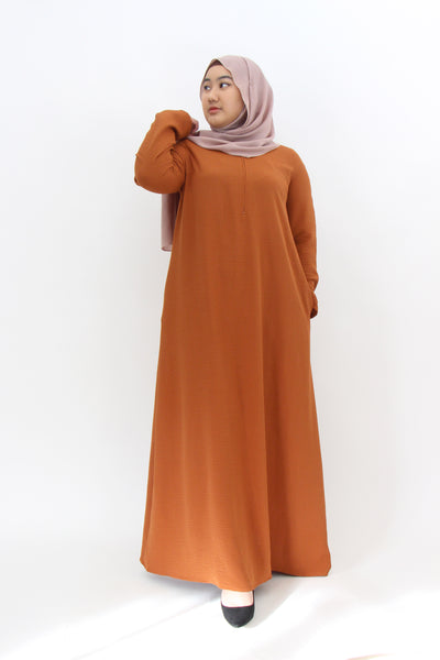 Long Crepe Dress - Burnt Orange