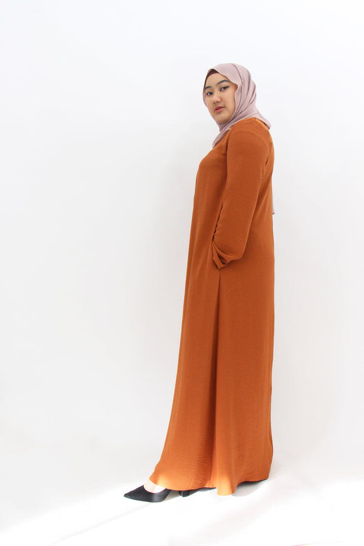 Crepe Dress - Burnt Orange