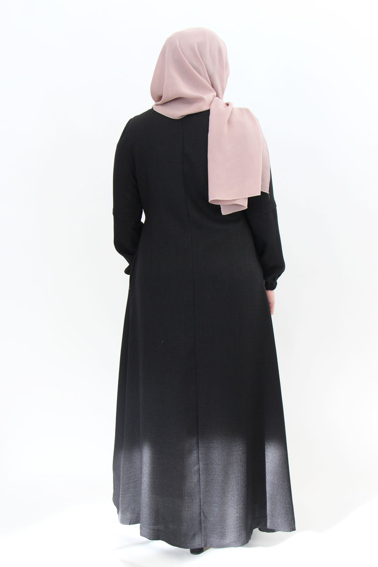 Linen Mix Buckle Dress - Black