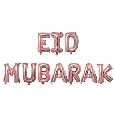 Reusable Eid Mubarak Foil Balloon Bunting - Rose Gold